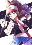 1girl absurdres aqua_eyes bag baseball_cap black_vest black_wristband blush brown_hair clenched_hand closed_mouth commentary_request cowboy_shot denim denim_shorts floating_hair hat high_ponytail highres hilda_(pokemon) holding holding_poke_ball long_hair looking_to_the_side poke_ball poke_ball_(basic) pokemon pokemon_(game) pokemon_bw pon_yui shirt short_shorts shorts shoulder_bag sidelocks sleeveless sleeveless_shirt solo two-tone_headwear v-shaped_eyebrows vest white_shirt wristband