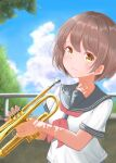 1girl absurdres bangs blue_sailor_collar blue_sky brown_hair closed_mouth clouds commentary day highres holding holding_instrument huge_filesize instrument kohe_billialot looking_at_viewer original outdoors railing red_neckwear sailor_collar school_uniform serafuku shadow shirt short_hair sky smile solo summer tree trumpet uniform upper_body white_shirt yellow_eyes