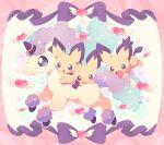 :o closed_mouth commentary_request galarian_form galarian_ponyta gen_2_pokemon gen_8_pokemon heart highres jippe no_humans open_mouth pichu pokemon pokemon_(creature) riding_pokemon smile tongue yume_kawaii