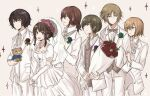 1girl 5boys :d bouquet boutonniere bow bride brown_eyes brown_hair character_request copyright_request dress elbow_gloves flower formal gloves grey_bow grey_vest groom hair_flower hair_ornament holding holding_stuffed_toy locked_arms long_hair multiple_boys open_mouth profile simple_background smile sofako_(miuccha) sparkle standing stuffed_toy suit veil vest white_dress white_gloves white_suit
