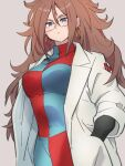 1girl android_21 black-framed_eyewear blue_eyes breasts brown_hair checkered checkered_dress closed_mouth dragon_ball dragon_ball_fighterz dress earrings glasses hair_between_eyes hand_in_pocket hoop_earrings jewelry kemachiku labcoat long_hair long_sleeves looking_at_viewer medium_breasts red_ribbon_army simple_background solo