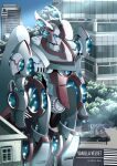 absurdres artist_name blue_eyes clenched_hand english_commentary highres joints looking_ahead mecha no_humans original robot_joints solo standing super_robot tahta_lazuardy_benu
