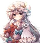 1girl absurdres artist_name blue_bow blush bow bowtie capelet crescent crescent_moon_pin eyebrows_visible_through_hair hair_bow hat hat_bow heart highres long_hair looking_at_viewer mob_cap patchouli_knowledge pudding_(skymint_028) purple_hair red_bow red_neckwear signature simple_background smile solo symbol_commentary touhou upper_body very_long_hair violet_eyes watermark white_background