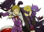 2boys aqua_eyes arm_around_shoulder black_sweater blonde_hair commentary_request dirty electrode eusine_(pokemon) gen_1_pokemon gen_3_pokemon gloves haunter long_sleeves male_focus morty_(pokemon) multiple_boys muu1519 open_mouth pants pokemon pokemon_(creature) pokemon_(game) pokemon_hgss purple_headband purple_scarf ribbed_sweater sableye scarf sweater teeth tongue white_gloves