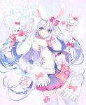 1girl animal animal_ears blue_hair blush bow bowtie cat crossover detached_sleeves fake_animal_ears gloves hair_between_eyes hair_bow hatsune_miku heart hello_kitty hello_kitty_(character) highres long_hair long_image looking_at_viewer miniskirt multicolored_hair ninnin_(choky13) open_mouth paw_gloves paws pleated_skirt purple_background rabbit rabbit_ears rabbit_yukine scarf skirt snowflakes standing tall_image thigh-highs twintails very_long_hair violet_eyes vocaloid yuki_miku