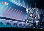 absurdres artist_name clenched_hands english_commentary glowing glowing_eyes highres launching logo mecha no_humans original solo squatting super_robot tahta_lazuardy_benu