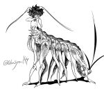 1boy :d antennae centauroid greyscale hands_up insect_boy monochrome monster monster_boy nude open_mouth original shima_(wansyon144) smile solo standing twitter_username