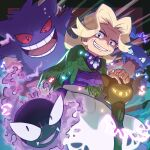 1girl agatha_(pokemon) apron blonde_hair cane commentary_request elite_four fingernails gastly gen_1_pokemon gengar grey_eyes hands_together haunter highres long_sleeves looking_at_viewer medium_hair pokemon pokemon_(creature) pokemon_(game) pokemon_lgpe smile teeth tom_(pixiv10026189) waist_apron white_apron