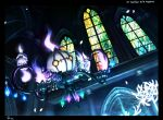 amemidori chandelier chandelure closed_mouth commentary_request diamond_(shape) fire from_below gen_5_pokemon indoors letterboxed litwick looking_at_viewer no_humans pokemon pokemon_(creature) purple_fire smile stained_glass yellow_eyes