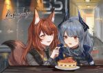 2girls :d anger_vein animal_ears arknights bangs black_neckwear brown_hair cake commentary copyright_name eyebrows_visible_through_hair food fork fox_ears fox_tail franka_(arknights) grey_hair highres holding holding_fork horns indoors liskarm_(arknights) long_hair long_sleeves looking_at_another multiple_girls necktie open_mouth orange_eyes red_eyes smile spacelongcat tail