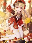 >_< 1girl :d ahoge arm_support arm_up autumn autumn_leaves backpack bag blanket blonde_hair blurry blurry_foreground brown_gloves cabbie_hat commentary_request depth_of_field dress food fruit full_body genshin_impact ginkgo_leaf gloves hat highres klee_(genshin_impact) leaf long_hair long_sleeves looking_at_viewer low_twintails maple_leaf miaoguujuun_qvq no_shoes open_mouth pointy_ears red_dress red_headwear sidelocks sleeves_past_wrists smile soles solo strawberry thigh-highs tree twintails very_long_hair white_legwear