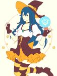 1girl blue_eyes blue_hair boots crystal_ball cute dress fire_emblem fire_emblem:_kakusei fire_emblem_13 fire_emblem_awakening fire_emblem_heroes gloves halloween halloween_costume intelligent_systems long_hair looking_at_viewer lucina lucina_(fire_emblem) nintendo parted_lips pumpkin ribbon solo star striped striped_socks true_jek_art witch_costume witch_hat