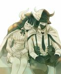 1boy 1girl bare_legs belt brother_and_sister cape closed_eyes collared_cape collared_shirt corset covered_mouth facing_viewer fur-trimmed_cape fur_trim gloves hand_rest hat head_on_shoulder high-waist_skirt high_collar horns horns_through_headwear living_(pixiv5031111) long_hair long_sleeves mask mouth_mask multicolored_hair necktie one_piece own_hands_together page_one_(one_piece) pants peaceful shirt siblings side-by-side sitting skirt sleeping streaked_hair suspenders sweater two-tone_hair ulti_(one_piece) wing_collar