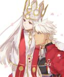 1boy 1girl archer armor cherry_blossoms crown dark_skin dignjooo dress dress_of_heaven fate/stay_night fate_(series) heaven's_feel highres illyasviel_von_einzbern long_hair looking_afar pale_skin red_eyes side-by-side smile white_background white_hair
