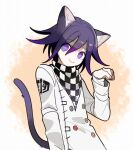 1202_koge 1boy animal_ears cat_boy cat_ears cat_tail checkered checkered_scarf colored_tips commentary danganronpa eyebrows_visible_through_hair hair_between_eyes long_sleeves looking_at_viewer male_focus new_danganronpa_v3 ouma_kokichi purple_hair scarf smile solo straitjacket symbol_commentary tail violet_eyes