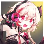 1girl :d armpits bangs black_dress black_gloves blonde_hair commentary_request dinergate_(girls_frontline) dress eyebrows_visible_through_hair fang flower girls_frontline gloves hair_between_eyes hair_flower hair_ornament happy headgear jin2 m4_sopmod_ii_(girls_frontline) megaphone multicolored_hair official_alternate_costume open_mouth red_eyes ro635_(dinergate) smile solo streaked_hair