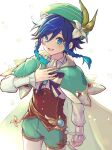 1boy black_hair blue_eyes blue_hair braid feathers flower gem genshin_impact gradient_hair green_headwear hat jewelry long_sleeves male_focus multicolored_hair open_mouth otoko_no_ko petals ribbon shorts simple_background smile solo twin_braids venti_(genshin_impact) vision_(genshin_impact) white_background yoruhachi