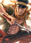 1boy abs absurdres blood blue_pants clenched_teeth commentary_request facial_scar golden_kamuy green_shirt hat highres holding holding_sword holding_weapon huge_filesize imperial_japanese_army japanese_clothes katana looking_at_viewer military_hat mouth_scar mprichin nose_scar open_clothes open_shirt pants pectorals scar scarf shirt short_hair sugimoto_saichi sword teeth weapon white_background yellow_eyes yellow_scarf
