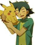 1boy anger_vein ash_ketchum bangs closed_eyes collared_shirt commentary_request cyaneko gen_1_pokemon green_hair green_shirt holding holding_pokemon male_focus open_mouth outline pikachu pokemon pokemon_(anime) pokemon_(classic_anime) pokemon_(creature) shirt smile tongue upper_body white_background