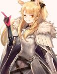 1girl ;) animal_ear_fluff animal_ears arknights armor bangs black_ribbon blemishine_(arknights) blonde_hair breastplate commentary eyebrows_visible_through_hair fur_trim gloves grey_background hair_ribbon hand_up index_finger_raised long_hair looking_at_viewer one_eye_closed pauldrons ribbon shoulder_armor simple_background smile solo takaaaa upper_body yellow_eyes