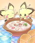 :p :t broccoli chair closed_eyes closed_mouth commentary_request gen_2_pokemon glass highres holding mushroom musical_note no_humans pichu pokemon pokemon_(creature) tablecloth tongue tongue_out wadorigi water