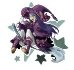 1girl boots bow broom broom_riding d: earrings gloves green_eyes hand_up hat hat_bow highres jewelry long_hair long_sleeves looking_at_viewer okame_nin open_mouth original pants pink_bow pink_gloves purple_capelet purple_footwear purple_hair purple_headwear solo watch watch white_pants witch_hat x_x