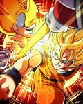 2boys animal_nose battle blonde_hair bracer crossover dougi dragon_ball dragon_ball_z gloves green_eyes grin kicking looking_at_another male_focus multiple_boys muscle punching red_eyes red_footwear sash shoes smile sneakers son_goku sonic sonic_the_hedgehog sparring super_saiyan super_saiyan_1 super_sonic tondamanuke trait_connection white_gloves