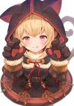 1girl andira_(granblue_fantasy) animal_ears bangs blonde_hair cat_ears cat_paws closed_mouth eyebrows_visible_through_hair fake_animal_ears granblue_fantasy happy highres hood hood_up kimblee licking_lips light_blush looking_at_viewer monkey_ears monkey_tail paws red_eyes sidelocks simple_background smile tail tongue tongue_out white_background