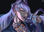 1girl absurdres business_suit claws demon_girl earrings evelynn_(league_of_legends) eyewear_removed formal glasses highres hoop_earrings jewelry league_of_legends long_hair looking_at_viewer makeup necklace solo succubus suit the_baddest_evelynn todok_kun