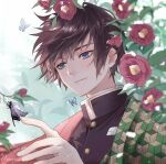 1boy antweiyi artist_name bangs black_hair black_jacket blue_eyes bug butterfly camellia closed_mouth collared_jacket flower flying hair_between_eyes hand_up haori insect jacket japanese_clothes kimetsu_no_yaiba light_smile looking_at_another male_focus outdoors short_hair signature snowing solo tomioka_giyuu tsurime upper_body