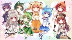 6+girls animal_ear_fluff animal_ears animare bear_ears bear_hair_ornament bear_paws black_ribbon dog_ears haibara_akane hair_ornament hashiba_natsumi_(animare) highres hinokuma_ran inaba_haneru_(animare) kazami_kuku multiple_girls ribbon shiromiya_mimi souya_ichika twintails usaba_(usabara_c) virtual_youtuber yunohara_izumi