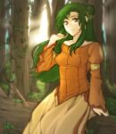 1girl absurdres bare_shoulders breasts collarbone dress elincia_ridell_crimea fallen_tree fire_emblem fire_emblem:_path_of_radiance fire_emblem:_radiant_dawn forest green_hair highres in_tree long_hair looking_at_viewer nature outdoors sitting sitting_in_tree small_breasts smile sunlight tree tridisart yellow_eyes