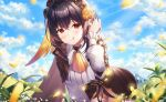 1girl :q absurdres ascot bent_over black_hair black_skirt blue_sky character_request closed_mouth clouds cloudy_sky collared_shirt cowboy_shot day hand_up headdress highres honkai_(series) honkai_impact_3rd leaf leaves_in_wind long_sleeves looking_at_viewer meadow medium_hair mellozzo miniskirt mirrored naughty_face outdoors petals puffy_sleeves red_eyes shirt skirt sky smile solo standing sunlight tongue tongue_out white_shirt