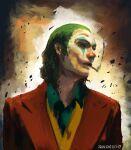 1boy arthur_fleck artist_name babyj0 batman_(series) cigarette clown formal green_hair joker_(2019) looking_to_the_side open_mouth smoking solo suit the_joker