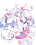 1girl animal animal_ears blue_hair blush bow bowtie cat crossover detached_sleeves fake_animal_ears gloves hair_between_eyes hair_bow hatsune_miku heart hello_kitty hello_kitty_(character) highres long_hair long_image looking_at_viewer miniskirt multicolored_hair ninnin_(choky13) open_mouth paw_gloves paws pleated_skirt rabbit rabbit_ears rabbit_yukine scarf simple_background skirt snowflakes standing tall_image thigh-highs twintails very_long_hair violet_eyes vocaloid white_background yuki_miku