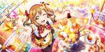 blush brown_eyes brown_hair dress kunikida_hanamaru long_hair love_live!_school_idol_festival_all_stars smile twintails wink