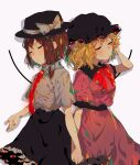 2girls absurdres autumn_leaves bow fedora flower guozimiao hat hat_bow hat_flower highres maribel_hearn mob_cap multiple_girls necktie night night_sky pink_shirt shirt sky touhou usami_renko wheat