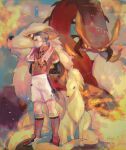 1boy arms_behind_back artist_name centiskorch closed_mouth collared_shirt commentary_request fire gen_1_pokemon gen_8_pokemon gym_leader highres kabu_(pokemon) knees male_focus multicolored_hair ninetales pokemon pokemon_(creature) pokemon_(game) pokemon_swsh red_legwear sakai_(motomei) shirt shoes short_sleeves shorts socks standing towel towel_around_neck two-tone_hair watermark