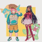 1boy 1girl alternate_costume artist_name baseball_cap black_hair boots clenched_hand closed_mouth commentary_request cosplay drednaw drednaw_(cosplay) freckles gen_7_pokemon gen_8_pokemon green_eyes green_hair hand_up hat highres hood hoodie light_smile long_hair milo_(pokemon) multicolored_hair nessa_(pokemon) pink_hair pokemon pokemon_(game) pokemon_swsh sakai_(motomei) shoes shorts standing thigh-highs thigh_boots tsareena tsareena_(cosplay) two-tone_hair watermark