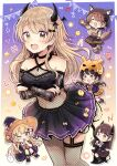 5girls :d ;d ^_^ absurdres animal_ear_fluff animal_ears animal_hat bangs bare_shoulders black_dress black_hair black_headwear black_nails blush breasts bridal_gauntlets brown_eyes brown_hair brown_skirt closed_eyes commentary_request crossed_arms demon_girl demon_horns demon_tail dress eyebrows_visible_through_hair fake_animal_ears fang fishnet_legwear fishnets frilled_dress frills gloves grey_eyes hair_between_eyes hair_ornament halloween hat highres horns long_hair long_sleeves low_twintails medium_breasts minigirl multiple_girls nail_polish one_eye_closed open_mouth original paw_gloves paw_shoes paws pennant pleated_skirt purple_dress purple_headwear purple_shirt purple_skirt sakura_oriko shirt shoes skirt skull_hair_ornament smile star_(symbol) string_of_flags tail twintails very_long_hair witch_hat wolf_hat wolf_tail x_hair_ornament