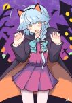 1girl :d absurdres animal animal_ears bare_tree bat black_bow black_hairband black_robe blue_bow blue_hair blush bow braid brown_eyes cat_ears claw_pose collared_shirt commentary_request dress eyes_visible_through_hair fake_animal_ears full_moon hair_bow hair_over_eyes hairband hamanami_(kantai_collection) hands_up head_tilt highres ichi kantai_collection long_hair looking_at_viewer moon open_clothes open_mouth open_robe pantyhose pleated_dress purple_dress robe shirt signature single_braid sleeves_past_wrists smile solo tree white_legwear white_shirt