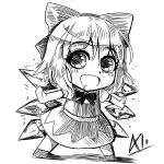 a-xii bow chibi cirno eyebrows_visible_through_hair highres ice ice_wings monochrome open_mouth saliva smile solo touhou wings