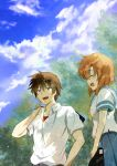 1boy 1girl arm_up bag bare_arms black_pants blue_eyes blue_sailor_collar blue_skirt blue_sky blurry blurry_background blush brown_hair closed_eyes clouds commentary dappled_sunlight eyebrows_visible_through_hair highres higurashi_no_naku_koro_ni holding holding_bag looking_at_another maebara_keiichi open_clothes open_mouth open_shirt orange_hair outdoors pants red_shirt ryuuguu_rena sailor_collar shirt short_hair short_sleeves shosudo skirt sky smile sunlight tree undershirt upper_body upper_teeth white_shirt yellow_neckwear