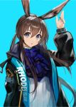 1girl absurdres amiya_(arknights) animal_ears aqua_background arknights black_coat blue_eyes blue_neckwear blurry brown_hair clothes_writing coat commentary cravat depth_of_field hair_between_eyes highres hooded_coat jewelry long_hair looking_at_viewer multiple_rings neck_ring open_clothes open_coat open_mouth rabbit_ears ribbed_sweater ring simple_background solo sweater takubon upper_body white_sweater