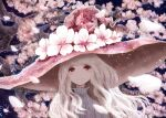 1girl blue_background cherry_blossoms commentary_request flower hat hat_flower highres isa_yuuri long_hair original petals pink_eyes pink_headwear shirt smile solo tree upper_body white_hair white_shirt wind witch witch_hat