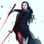 1girl babyj0 black_hair dark_persona dual_wielding energy_sword grey_background holding lightsaber looking_up parted_lips red_eyes rey_(star_wars) solo star_wars sword weapon