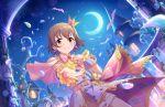 blush brown_eyes brown_hair cape dress idolmaster_cinderella_girls_starlight_stage kita_hinako moon short_hair smile