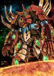 garimpeiro getter_emperor getter_robo glowing glowing_eyes highres horns looking_down mecha no_humans open_hands solo space standing super_robot_wars yellow_eyes