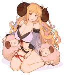 1girl ahoge alternate_costume anila_(granblue_fantasy) animal_ears bikini bikini_bottom bikini_top brown_eyes flower granblue_fantasy hair_flower hair_ornament head_tilt horns jivke kneeling light_brown_hair lipstick long_hair looking_at_viewer makeup pale_skin shawl sheep sheep_ears sheep_girl sheep_horns simple_background smile swimsuit teeth thighs white_background