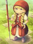 1girl absurdres bird_studio blonde_hair boots bow braid child closed_mouth dragon_quest dragon_quest_xi dress grass hat highres holding holding_staff long_hair okame_nin puffy_short_sleeves puffy_sleeves purple_footwear red_bow red_dress red_headwear short_sleeves smile solo square_enix staff standing toei_animation twin_braids veronica_(dq11) violet_eyes white_dress wristband
